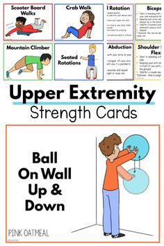Lower extremity strengthening for kids. Cards and printables that you can use for lower extremity strengthening ideas and activities! Elementary Physical Education, Physical Education Activities, Occupational Therapy Activities, Pediatric Occupational Therapy, Motor Skills Activities, Pediatric Ot, Gross Motor Skills, Science Education, Elementary Pe