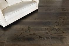 modern floor decoration with inlay materials wood metal and concrete