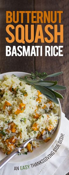 Butternut Squash Basmati Rice #ad @authenticroyal This is the perfect Thanksgiving/Fall side dish. So healthy and delicious and full of fall flavors! Sure to be a crowd pleaser. Click through for the recipe... Back To Her Roots