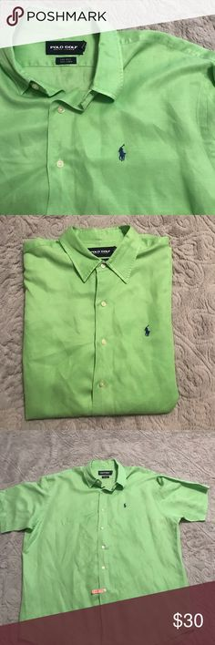 POLO GOLF Ralph Lauren -  Bermuda shirt Perfect condition POLO GOLF men's green linen and silk Bermuda Button up.  Great casual shirt.  Super Comfy.  Men's XL Polo by Ralph Lauren Shirts Casual Button Down Shirts