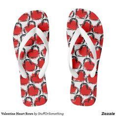 Valentine Heart Rows Flip Flops