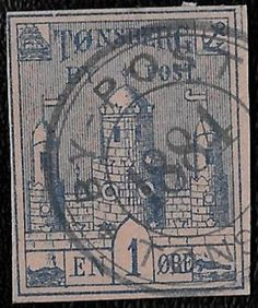 + 1884 Tonsberg Norway 1o Clay Hill Arms Castle Local ByPost S/A 1b Imperf.Sotn
