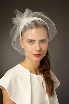 Xenia Beaded Headband with Tulle Blusher Veil - Genevieve Rose Bridal