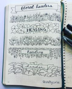 Floral Bullet Journal Headers