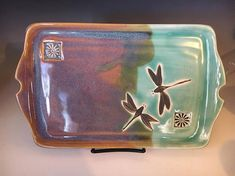 Pottery Serving Platter Handmade Pottery Tray Dragonfly #ad