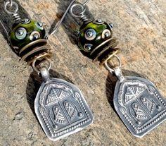 Artisan earring #10....Wayne Robbins glass with India charm (78.00 USD) by JudieMountain - handmade - jewelry - jewellery - artisan - etsy