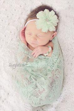 Mint Green Crystal Swarovski Pearl Baby Bracelet