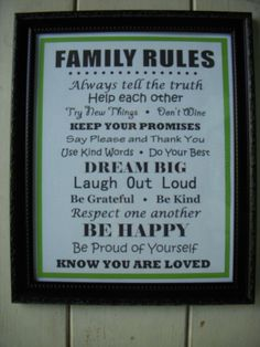 Family Rules Framed Sign  FREE SHIPPING by FollowingFriends, $15.00