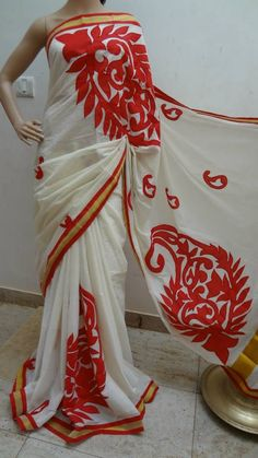 Kerala cotton saree with embroider finished applic | Buy online sarees | Elegant Fashion Wear Price :1950 #keralacotton #keralasaree #saree