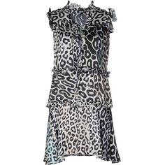 Just Cavalli Short Dress ($150) ❤ liked on Polyvore featuring dresses, black, short dresses, leopard mini dress, v neckline dress, ruched cocktail dress and leopard print dresses