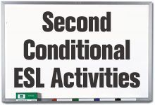 This page provides teachers with a variety of ESL grammar activities based on the second conditional. These captivating activities, worksheets and games help students to learn how to use the second conditional tense in both written and spoken forms by presenting them with imaginative role-plays and situations.