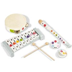 Janod musikinstrumenter, sæt m 5 dele - confetti