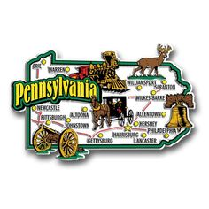 Our Pennsylvania jumbo state magnet measures approximately 9 square inches and has a thickness of 0.1. This Classic Pennsylvania State Jumbo Magnet is perfect for any refrigerator or metal surface and