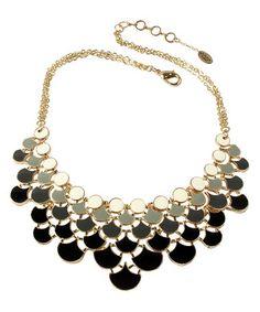 Look at this #zulilyfind! Black & White Ombré Bib Necklace #zulilyfinds