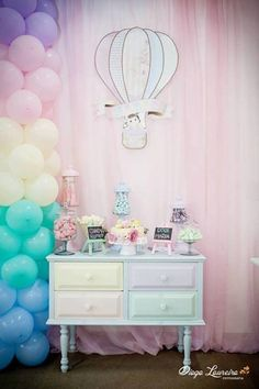Pastel rainbow hot air balloon party...... Could this be any more perfect?? All my favorites in one :)