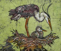 Heron and chick batik work by Janet Searfoss Batik Art, Batik Quilts, Bird Artwork, Watercolor Animals, Fabric Painting, Painting Techniques, Pet Birds, Collage Art, Printmaking