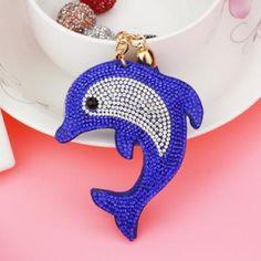 Delfin kristályos kulcstartó kék