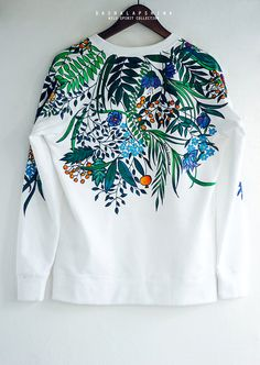 Hand painted Floral Nature Women Sweatshirt with flowers: Botanic Garden - Hand painted White Floral Nature Women Sweatshirt by SpringHoliday Source by -