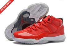 Red/White AIR JORDAN 11 378037-623 Red Suede For Cheap