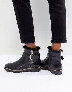 Black boots ---too cute. Carvela Leather Flat Side Zip Buckle Strap Boot #boots #shortboots #affiliate #winterboots