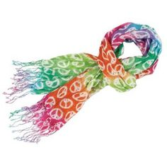 'Peace and Love' Rainbow Tie-Dye Cotton Scarf Peace Sign Party, Peace Sign Birthday, Peace Signs, Tie Dye Rainbow, Love Rainbow, Over The Rainbow, Rainbow Colours, Bright Colors, Thing 1