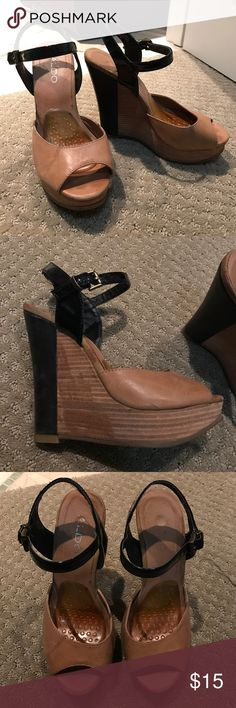 🖤ALDO WEDGES🖤 Super cute but not my style anymore! Not in the best condition so I'll take what I can get, make an offer!🖤💰 black/tan/brown with wooden wedge Aldo Shoes Wedges