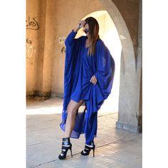 Blue Maxi Dress, Long Dress, Plus size Dress, Evening Dress, Summer... ($79) ❤ liked on Polyvore featuring dresses, gowns, long gown, long chiffon dress, plus size summer dresses, chiffon maxi dress and long evening dresses