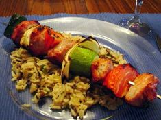 Rice Pilaf goes great with this Pork Shish-kebab