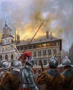 """Noviembre de 1576, saqueo de Amberes, la """"Furia Española"""", ilustración del maestro Ferré Clauzel para el libro de José Javier Esparza. http://www.elgrancapitan.org/foro/viewtopic.php?f=21&t=16835&p=922866#p922340"""