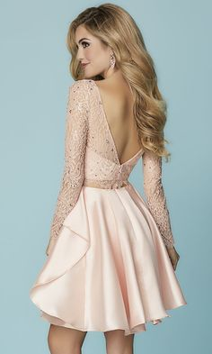 03e31a265b8f Mock-Two-Piece Homecoming Dress with Lace Sleeves