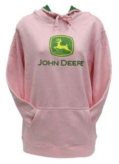 John Deere Womans Pink Fleece Hoodie JD Logo with Glitter