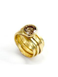 2 Carat Brown Diamond 18ct Gold Spaghetti Ring by Disa Allsopp from Disa Allsopp Jewellery