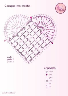 Crochet Heart - Chart - can be adapted to make larger heart Crochet Heart - Tutorial for Crochet, Knitting. crochet heart diagram - Don't click but you can use the diagram 135 designs & patterns for harts Easily adapted to use different beginning squares Crochet Diy, Crochet Motifs, Crochet Diagram, Crochet Stitches Patterns, Crochet Chart, Crochet Squares, Crochet Designs, Crochet Doilies, Crochet Flowers