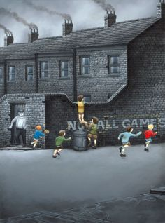 Run For Your Lives by Leigh Lambert #art #artist #northeast #newcastle #childhood #play #playingout #playtime #monotone #blackandwhite #limitededition #originals