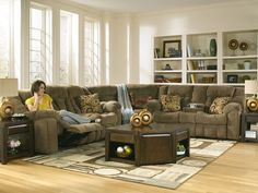 Reading – Contemporary Microfiber Recliner Sofa Couch Sectional Living Room Set