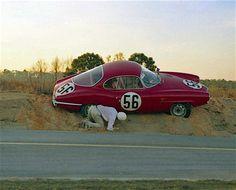 #AlfaRomeo Giulietta SS caught in sandbank - #Sebring 12 Hours 1961