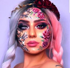 *insert cliché about how every rose has its thorn here* Thorn side inspired by 💕 __________ Product deet Cool Makeup Looks, Halloween Makeup Looks, Crazy Makeup, Cute Makeup, Pretty Makeup, Face Paint Makeup, Eye Makeup Art, Body Makeup, Makeup Geek