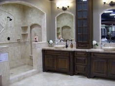 Master bathroom idea (Old world style) ...We are currently planning on how to redo ours and I think hubbyw il like this one.