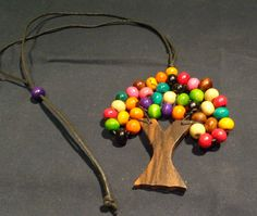 NEW Cool Funky Inexpensive Colourful Wooden Tree OF Life Necklace | eBay