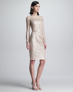 Sequined Long-Sleeve Cocktail Dress by David Meister at Neiman Marcus. Mob Dresses, Trendy Dresses, Casual Dresses, Fashion Dresses, Dresses For Work, Wedding Dresses, Classy Outfits, Pretty Outfits, Neiman Marcus
