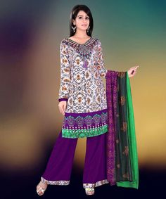 """http://www.istyle99.com/Salwar-Suit/Multi-Color-Semi-Stitched-Straight-Cut-Salwar-Kameez-7756.html Multi Color Semi Stitched Straight Cut Salwar Kameez - RS 1080 Stitch Type: Semi-stitched Top Colour: Multi Bottom Colour: Purple Dupatta Colour: Multi Kameez Fabric: Reyon Cotton Bottom Fabric: Cotton Dupatta Fabric: Printed CUSTOMIZED UP TO: 42"""" Bottom in Mtr: 2 Mtr Dupatta in Mtr: 2.25 Mtr Care Type: Dry Cleanr Work Type: Print"""