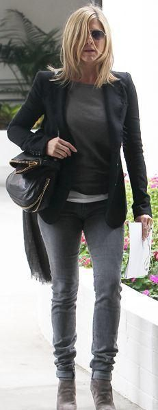Who made Jennifer Aniston's gray skinny jeans, suede boots, and black handbag that she wore in Los Angeles? Jeans – Helmut Lang  Shoes – Walter Steiger  Sunglasses – Ray Ban  Purse – Tom Ford