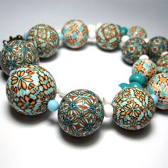 Polymer clay beads - Damascus