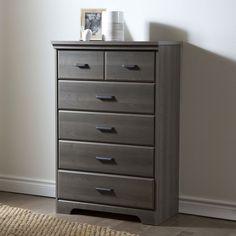 Grey Maple 5-Drawer Chest Wardrobe Bedroom Storage Cabinet - Loluxe