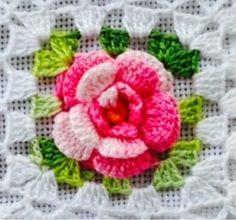 Para BARRADOS e outras aplicações; Rascunhos Gráficos : Flor com 6 Petalas por Carreira;       Iniciando com 6 correntes, fazendo 1 pont...