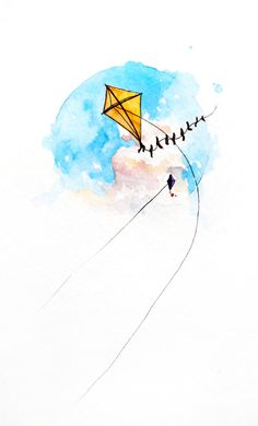 A Joyful Breeze kite painting, original watercolor by SarahLambertCook, $ 38.00