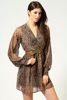 New Fashion From All World: Holly Snake Print Wrap Dress Tie Dress, Wrap Dress, Wrap Around Dress, Snake Print, New Fashion, Boohoo, Evening Dresses, Print Wrap, Style Inspiration