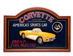 Placa Decorativa Corvette - Alto Relevo - Machine Cult   A loja das camisetas de carro e moto