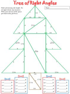 Tree of Right Angles (A Pythagorean Theorem Activity) by The Pine Tree Post School Classroom, Classroom Ideas, Dear Students, Right Triangle, Pythagorean Theorem, Teacher Boards, Trigonometry, Pine Tree, Math Lessons