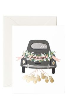 Decorate the getaway car in true boho flair and let them know you did by sharing Rifle Paper Co.'s card with the newlyweds! Featuring gold foil cans and an iconic car illustration, this card is perfec